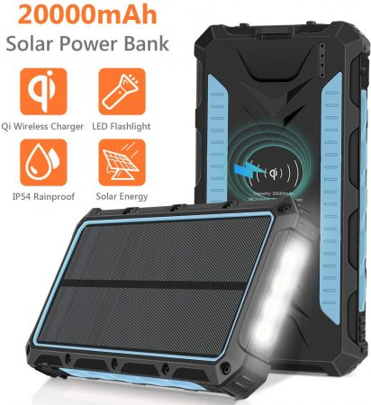 Solar Charger 20000mAh, Qi Wireless Portable Solar Power Bank