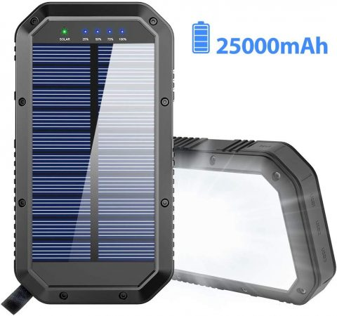 Solar Charger, 25000mAh Battery Solar Power Bank Portable Panel Charger
