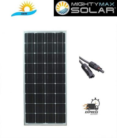 Mighty Max Battery 100 Watt Monocrystalline Solar Panel