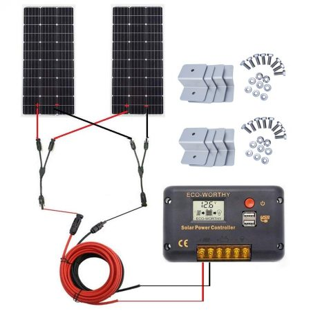 ECO-WORTHY 200 Watt (2pcs 100W) Monocrystalline Solar Panel