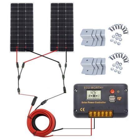 ECO-WORTHY 200 Watt (2pcs 100W) Monocrystalline Solar Panel
